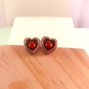 Silver and Red Turquoise Post Earrings.